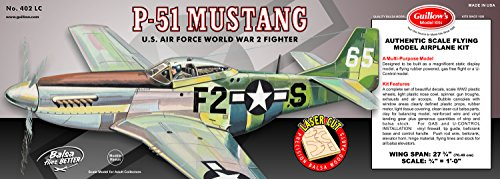 Guillow's P51 Mustang Laser Cut Model Kit (Super Scale Wood)