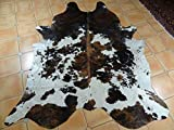 Cheap Tricolor Brazilian Cowhide Rug Tri Cow Hide Skin Leather Area Rug Exotic (Small 5ft X 3ft)