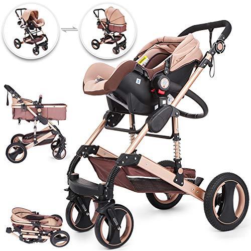 Happybuy 3 in 1 Stroller Khaki Foldable Luxury Baby Stroller Anti-Shock Springs High View Pram Baby Stroller 3 in 1 with Baby Basket(No Base)