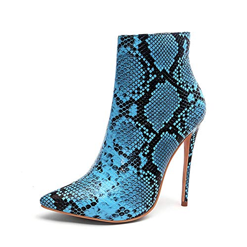 Women's Fashion Snake Print Pointed Toe Footwear Booties Warm Plush Winter Shoes High Heels Ladies ()