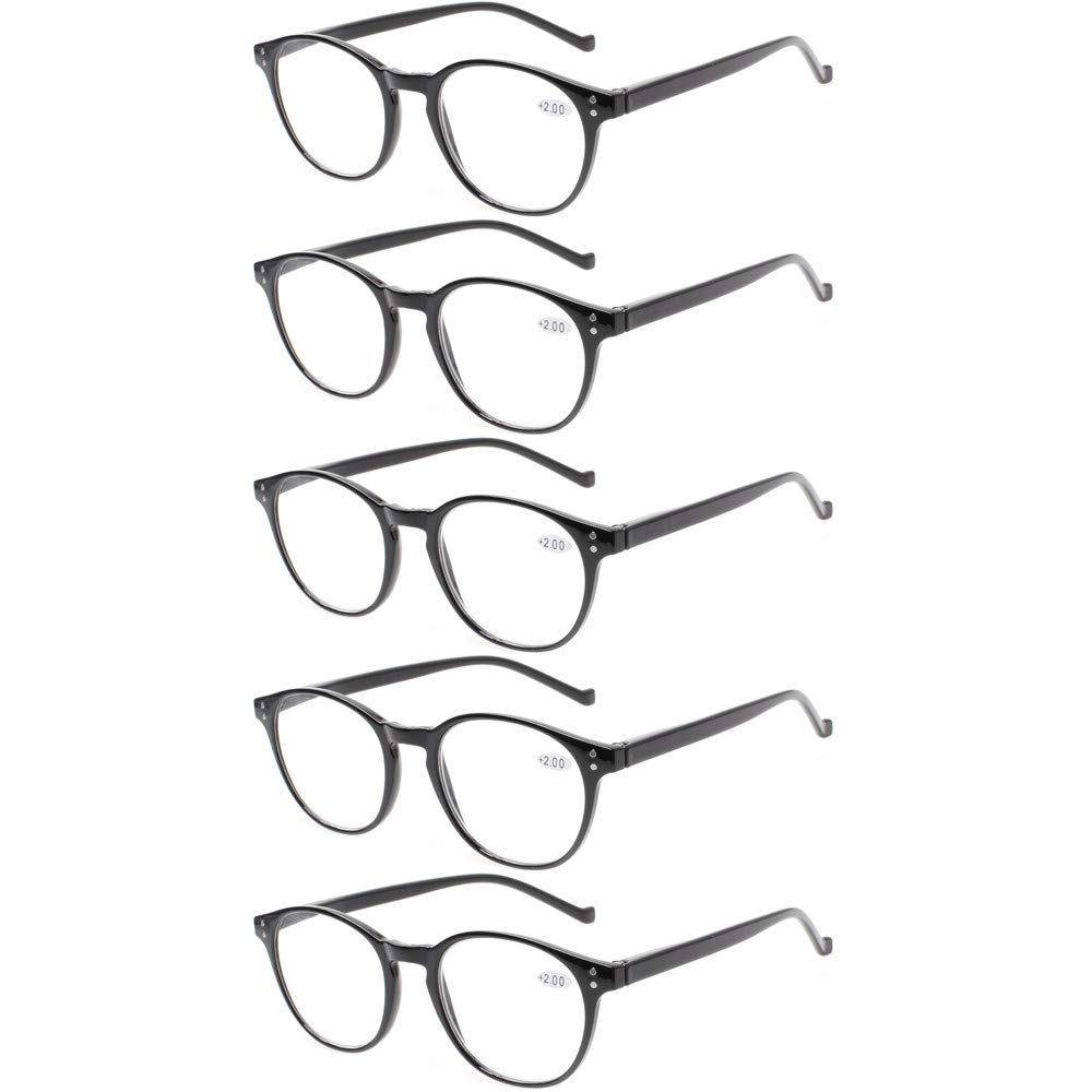 5 Pairs Reading Glasses - Standard Fit Spring Hinge Readers Glasses for Men and Women (5 Pack Black, 2.00)