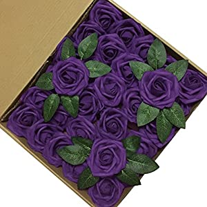 J-Rijzen Jing-Rise Artificial Flowers 30pcs Real Looking Dark Purple Fake Roses with Stem for Wedding Bouquet Bridal Shower Birthday Party Home Decorations (Purple) 4