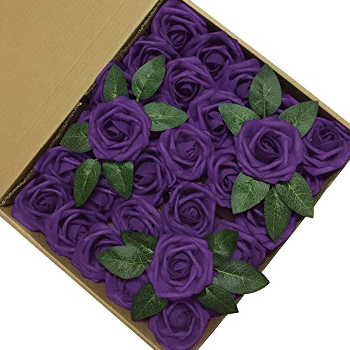 J-Rijzen-Jing-Rise-Artificial-Flowers-Real-Looking-Fake-Roses-with-Stem-for-DIY-Wedding-Bouquets-Centerpieces-Party-Baby-Shower-Home-Decorations-Purple-30pcs-Standard