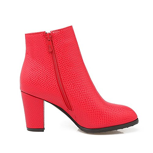Zipper High top Round Bows Allhqfashion Boots Heels Red Closed Low PU Women's with Toe X7qanqx5z