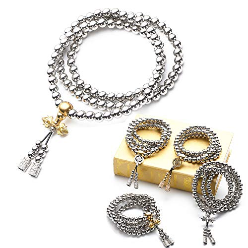 RedKing 108 Stainless Steel Beads Necklace Mala Beads Prayer Beads Buddha Beads Necklace Men