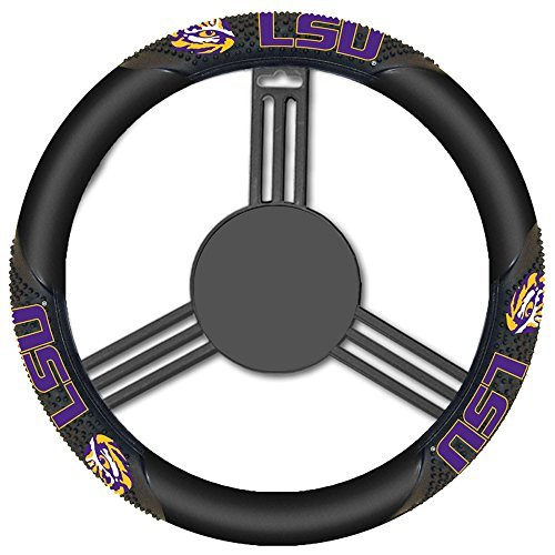 NCAA LSU Tigers Massage Steering Wheel Cover, Black, One Size by Fremont Die