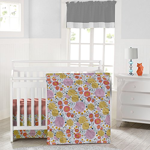 Where the Polka Dots Roam Floral on White and Coral Herringbone Baby Crib Set with Fitted Crib Sheet, Skirt and Blanket, Flowers in Pink, Yellow, Teal, Seafoam (Bedding Crib Sets Baby Vintage)