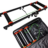 AccelaVelo Indoor Bike Roller Trainer | Light & Strong Frame with Padded Case | Compact Portable Bi-Fold Design | Seamless Rollers | 5 Year Warranty (Black + Bag)
