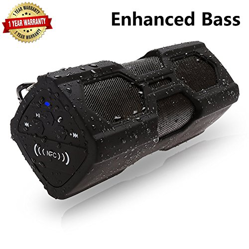 Waterproof Bluetooth Speaker,Sport Portable Wireless Stereo Speaker with 12-Hour Playtime,Built-in Mic/NFC,Enhanced Bass,Durable Design for Iphone,Ipad,Samsung,PC,Mobile,Car and TV (Black)