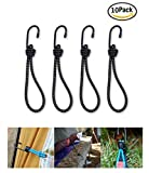 Bungee Cord with Hooks Heavy Duty Set By Garloy,10 Pcs 8 Inch Durable Rubber Canopy Ties Ideal for Tarps, Tents, Wire Racks, and other Camping Accessories