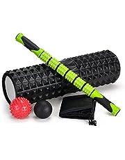 """Odoland 18"""" groot schuim Roller 5-delige set met lichtgewicht spier Roller Stick en 2 massage ballen, hoge dichtheid voor fysieke therapie, diepe weefsel Trigger, pijnverlichting, myofasciale release"""