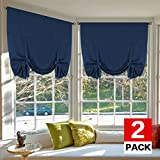 Cheap H.VERSAILTEX Blackout Tie Up Curtains Light Reducing Energy Efficient Window Shades Rod Pocket Panels for Kid's Room (Set of 2 Panels, Navy Curtain, 42W x 63L)