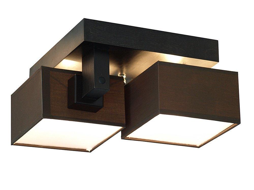 deckenlampe deckenleuchte leuchte barsa 009 braun 2 flammig holz stoff chrom ebay. Black Bedroom Furniture Sets. Home Design Ideas