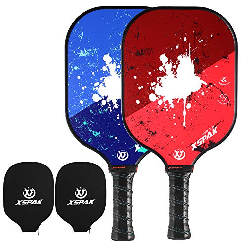 Carbon Fiber Face - XS XSPAK Pickleball Paddle Set of 2 - Lightweight Graphite/Carbon Fiber Face & Polypropylene Honeycomb Composite Core Paddles Sets Including Racket Cover, USAPA Approved