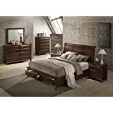 Roundhill Furniture Concord Wood Bedroom Set With Platform Bed Dresser Mirror 2 Night Stands Queen Cherry