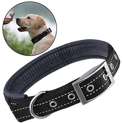 Reflective Dog Collar, PETBABAB Padded Metal Buckle Adjustable Training Collar for Dogs Black - Full Metal Buckle