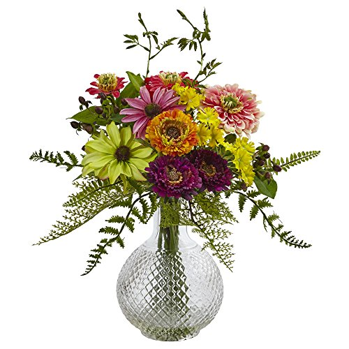 Nearly Natural 4585 Mixed Flower in Glass Vase