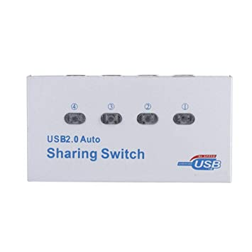 ASHATA 4 Puertos USB 2.0 Sharing Switch, Computer USB 2.0 ...