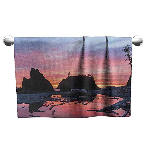 Bensonsve Custom Towel National Parks,Sunrise in Slow Moving Stream Pinky Soft Colored Misty Skyline Mystic Beach, Multicolor,Towel Dress for Girls