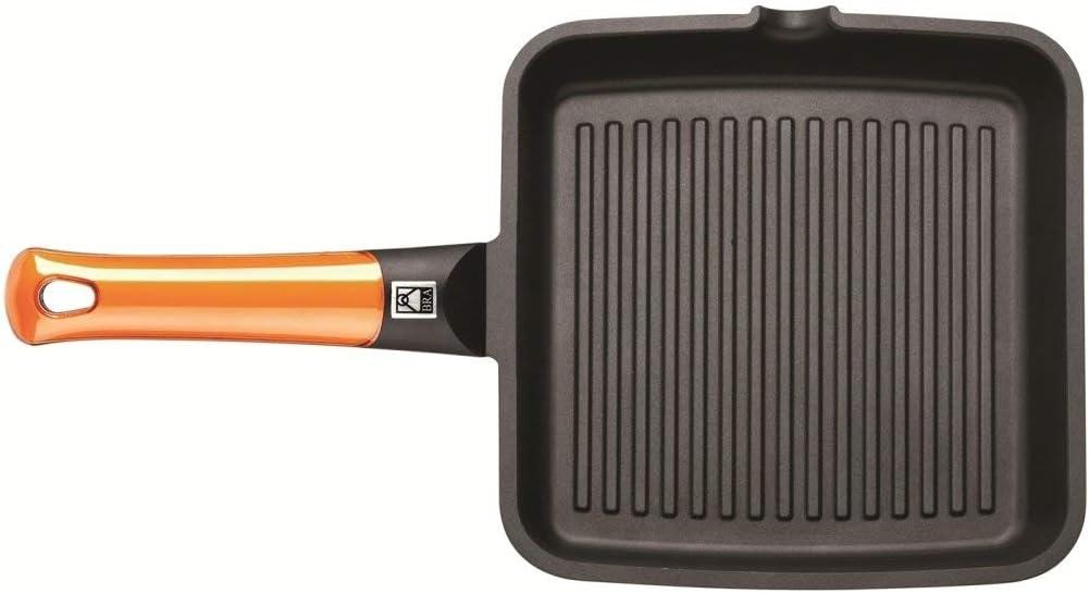22 cm Grill asador con Rayas Aluminio Fundido con Antiadherente Platinum Plus BRA Efficient Orange Apto para inducci/ón