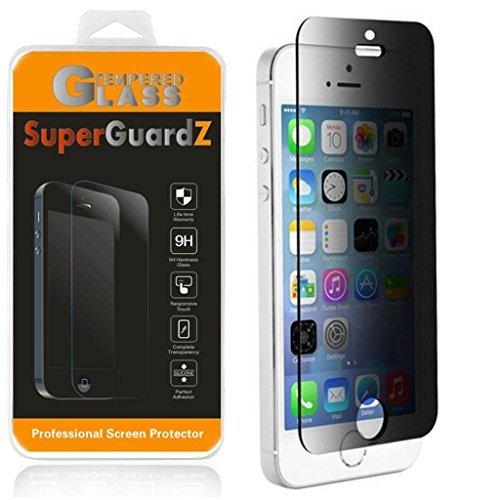 [2-PACK] For iPhone SE / 5S / 5C / 5 - SuperGuardZ Privacy Anti-Spy Tempered Glass Screen Protector, 9H, 0.3mm, 2.5D Round Edge, Anti-Scratch, Anti-Bubble (Best Privacy Screen Protector For Iphone 5s)