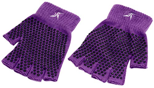 Prosource Fit Grippy Yoga Gloves, One Size Fits All, Non-Slip Fingerless Design in Purple