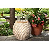 Quality Outdoor Living 65-YZST02 Amelia Chevron Side Table with Storage, Tan + White Wicker