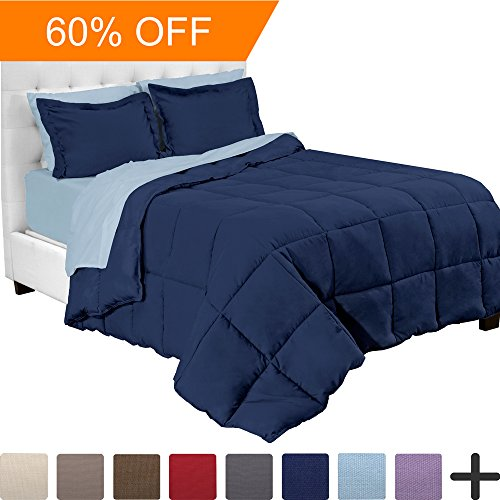 5-Piece Bed-In-A-Bag - Twin XL Extra Long (Comforter Set: Dark Blue, Sheet Set: Light (Extra Long Twin Bunk Bed)