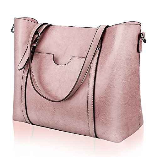 Pink Leather Tote Bag (Women Top Handle Satchel Handbags Shoulder Bag Tote Purse Greased Leather Iukio)