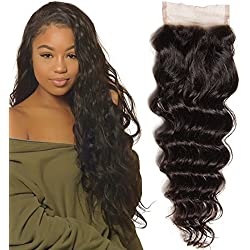 Unice Remy Brazilian Natural Wave 4X4 Lace Closure 100% Virgin Human Hair Natural Color(18inch closure)