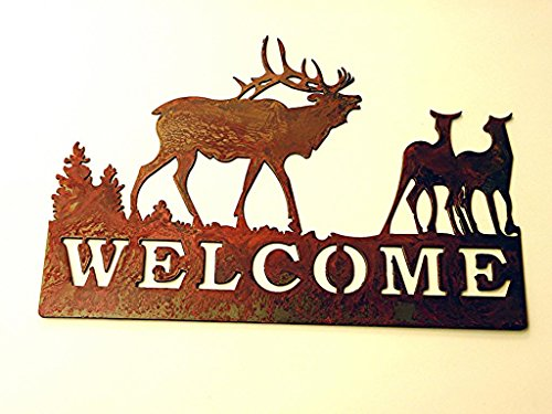 Welcome Sign Rusted Rustic Metal Elk Family 14.50