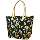 Flamingo Pineapple Print NGIL Gold Collection Tote Bag