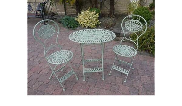Verde de hierro forjado 3 piezas Juego de muebles de jardín ...