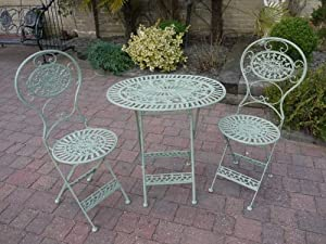 Green Wrought Iron 3 Piece Bistro Style Garden Patio Furniture Set