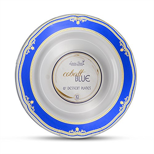 Laura Stein Designer Tableware Premium Heavyweight 6'' Inch White Plate And Blue & Gold Border Plastic Party & Wedding Plates Cobalt Blue Series Disposable Dishes Pack of 20 Plates