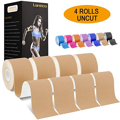Laneco Kinesiology Tape, Uncut Physio Tape, Breathable, Waterproof, Latex Free Sports Tape, 6m x 5cm Uncut Roll, Free Kinesiology Taping Guide ((4 Pack) Beige Tape + Taping eGuide)
