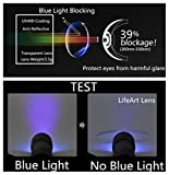 LifeArt Blue Light Blocking Glassess with Transparent UV Block Lens,Better Sleep,Anti-Eyestrain for Gaming&Electronic Screen Reading Glasses,Men/Women/Youth,Mate Black,0.00,No Magnify
