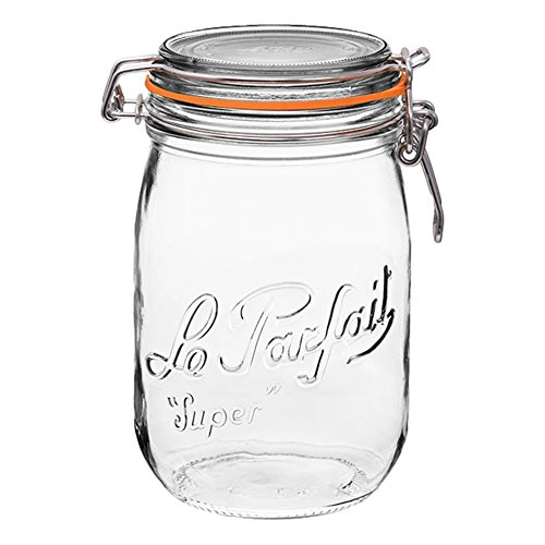 4 Le Parfait Super Jars - New Stainless Steel Wire - Wide Mouth French Glass Preserving Jars with Round Bodies, Glass Lids and Natural Rubber Seals - Zero Waste Packaging (4, 1000ml - 32oz - SS) by Le Parfait