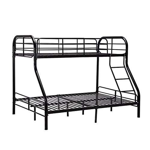 Double Loft Bed Sets - Mecor Twin over Full Metal Bunk Beds with Ladder for Kids Teens Adult Loft Bed Set Dorm Bedroom Furniture (Inclined Ladder, Black)