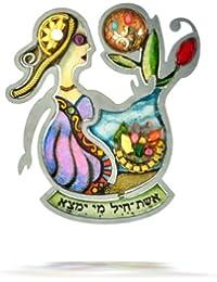 Seeka Woman Of Valor Judaic Pin With Hebrew   P0166
