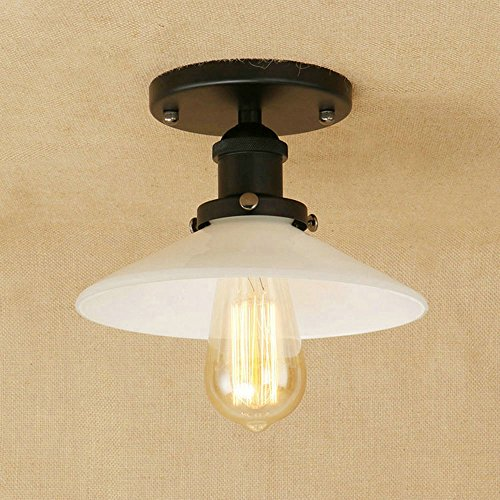 JINGUO Lighting Semi Flush Mount Ceiling Light Close To Ceiling Lights Hanging Lights Lamp with white sauser Shade in Vintage Style for Indoor Restaurant Barn Use Standard USA Light Bulb