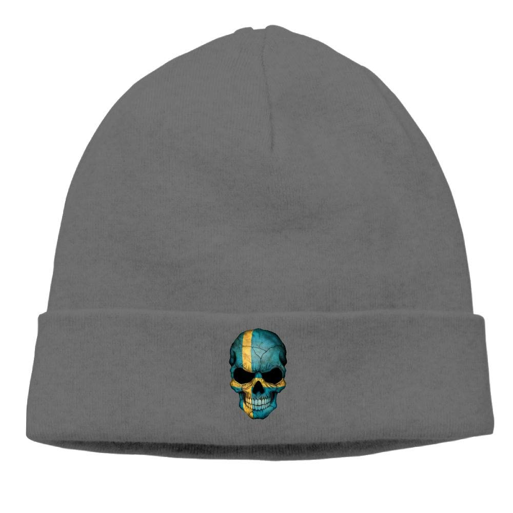 nordic runes Swedish Flag Skull Beanie Hat Winter Warm Knit Skull Cap for Mens//Womens