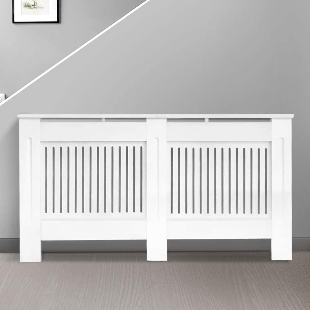 Greenbay Modern Radiator Cover MDF Cabinet with Modern Vertical Style Slats White Painted Large - 1520 x 815 x 190(mm)
