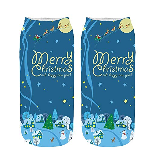 2019 Newest ChristmasChristmas Dresses For Women,Unisex Christmas Funny 3D Printed Socks Cute Low Cut Ankle Socks,