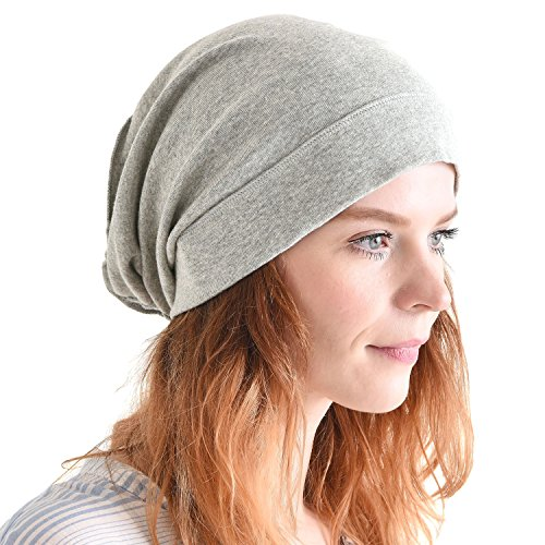 CHARM Mens Slouch Beanie Hat - Womens Organic Cotton Slouchy Hipster Chemo Knit Casualbox Light Grey