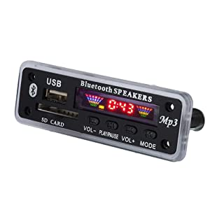 fosa DC 5V/12V Bluetooth 5.0 Audio Decoder Board Audio Module USB AUX SD FM Radio Lossless MP3/WMA/WAV/FLAC/APE Decoder Board Module, Colors Screen Display(Black) (Color: Black)