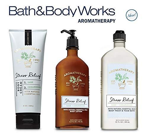 Bath and Body Works NEW Aromatherapy Stress Relief - SAGE CEDARWOOD TRIO - Body Lotion ~ Body Cream and Body Wash & Foam Bath - Full Size ()
