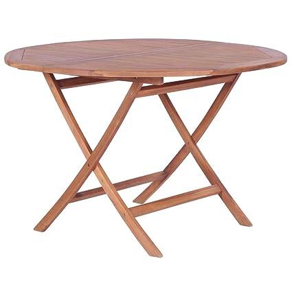 Tidyard Table Rond Pliable | Table à Manger Pliable | Table de Jardin |  Table Extérieur en Bois de Teck Massif 120 x 75 cm