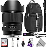 Sigma 20mm f/1.4 DG HSM Art Lens for NIKON F DSLR Cameras w/ Advanced Photo and Travel Bundle