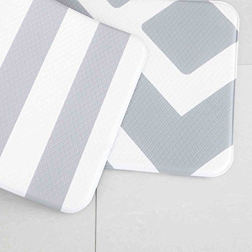 Anti Fatigue Cushion Stylish Comfort Floor Foam Kitchen and Office Mat , Waterproof, Easy to clean, Soft and Thick, Non Toxic, Reversible (Daily Diamond and Stripe, 17
